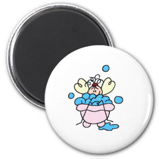 Spa Stick Figure in Tub Bubble Bath Magnet