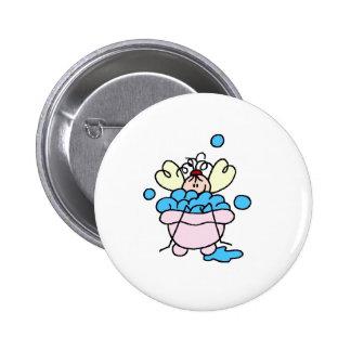 Spa Stick Figure in Tub Bubble Bath Pinback Button
