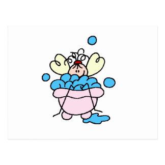 Spa Stick Figure in Tub Bubble Bath Postcard