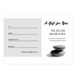 Spa Stones Gift Certificate Postcards