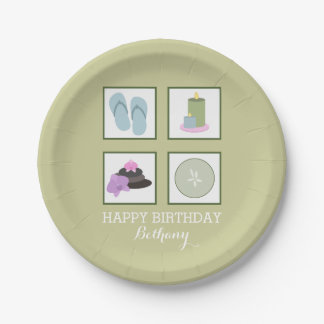 Spa Themed Birthday Party Plates
