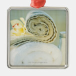 Spa towels and tropical flower square metal christmas ornament