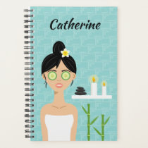 Spa Woman Illustration In Spa Room & Name Planner