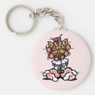Spa Yorkie Pink Basic Round Button Keychain