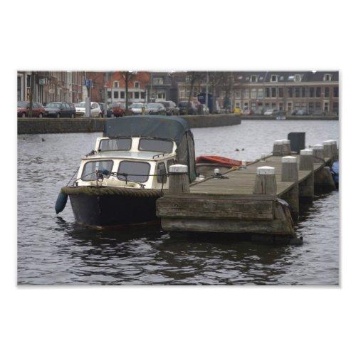 Boat on the Spaarne river in Haarlem