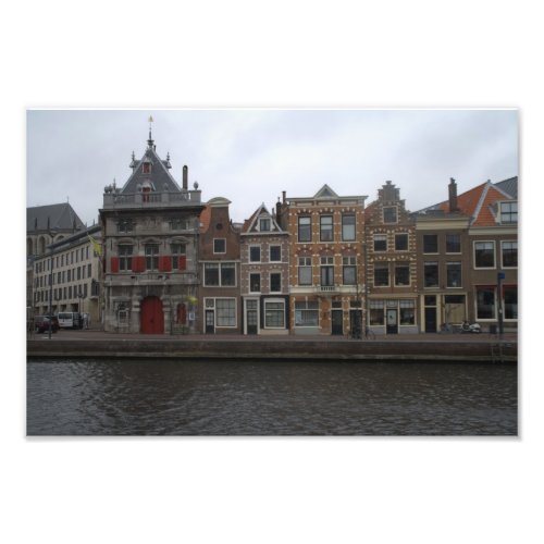 Canal houses on the bank of the Spaarne river in Haarlem