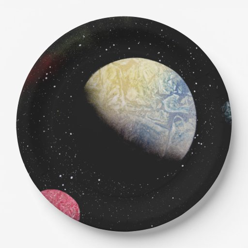 Space 21 outer space paper plate zazzle for Outer space paper