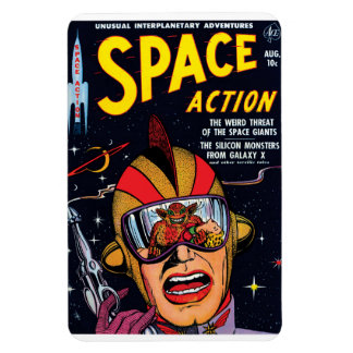 Space Action #2 Vintage Sci Fi Comic Book Cover Magnet
