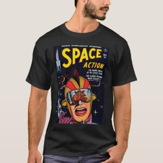 Space Action #2 Vintage Sci Fi Comic Book T-Shirt