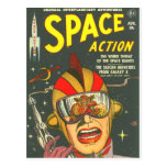 SPACE ACTION Cool Vintage Comic Book Cover Art Post Cards
