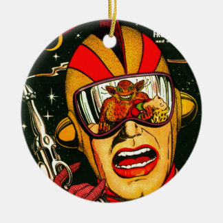 Space Action: Eek!  A Monster! Ceramic Ornament