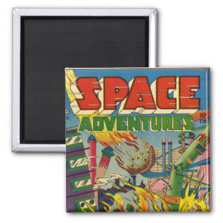 Space Adventurers Comic Book 2 Inch Square Magnet