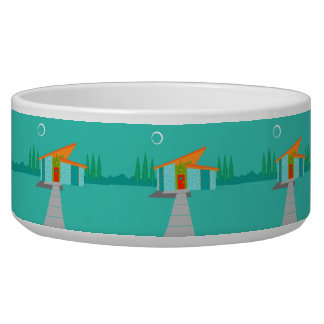 Space Age Cartoon House Ceramic Dog Bowl
