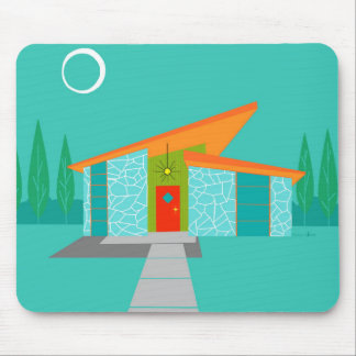 Space Age Cartoon House Mouse Pad