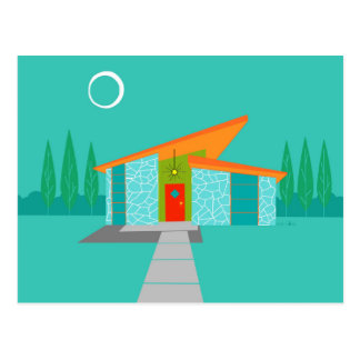Space Age Cartoon House Postcard