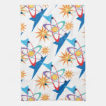Space Age Retro Multicolored Pattern Hand Towel