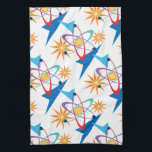 """Space Age Retro Multicolored Pattern Hand Towel<br><div class=""""desc"""">This fun and colorful pattern is an update of classic Mid Century Modern Atomic Age motifs of the 1950&#39;s and 1960&#39;s,  featuring abstract orbiting spheres,  rocket ships,  and starbursts in a variety of colors. The background color may be changed by clicking on &quot;Customize It&quot; and then edit.</div>"""