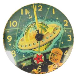 Space Age Toy 2 O'Clock Printed Plate Wall Decor