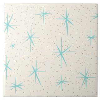 Space Age Turquoise Starbursts Ceramic Tile