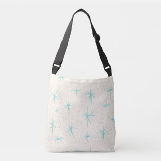 Space Age Turquoise Starbursts Cross Body Bag