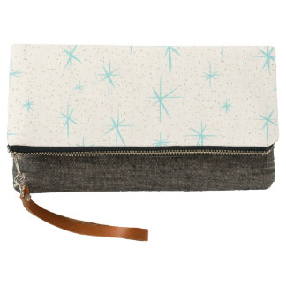 Space Age Turquoise Starbursts Fold-Over Clutch