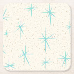 """Space Age Turquoise Starbursts Hard Paper Coaster<br><div class=""""desc"""">This Space Age Turquoise Starbursts Hard Paper Coaster pattern features blue starbursts on a creamy background with gold colored speckles. Inspired by a classic mid century modern dish pattern, this design has an authentic vintage flair. The retro kitschy goodness will make you feel like you've stumbled across a flea market...</div>"""