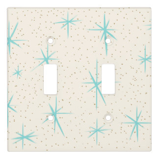 Space Age Turquoise Starbursts Light Switch Cover
