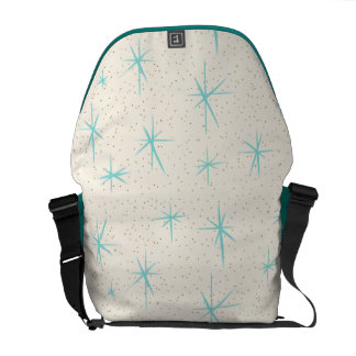 Space Age Turquoise Starbursts Messenger Bag
