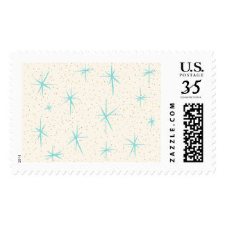 Space Age Turquoise Starbursts Postage Stamps