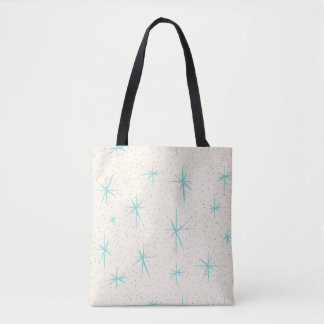 Space Age Turquoise Starbursts Tote Bag