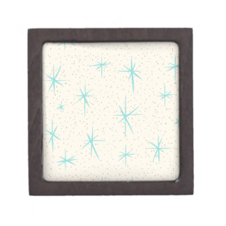 Space Age Turquoise Starbursts Wooden Gift Box