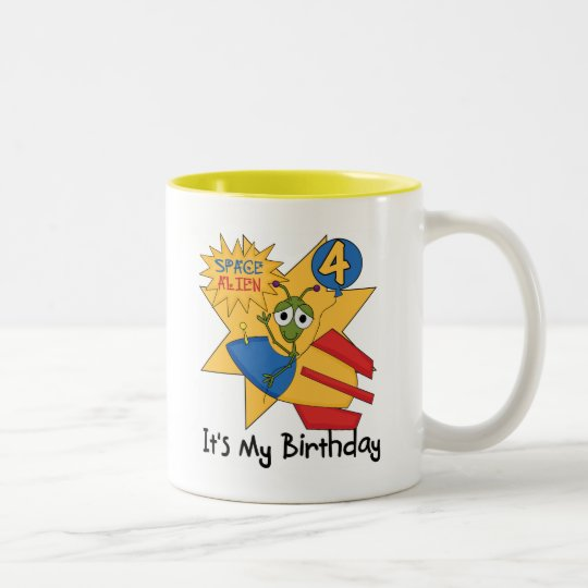 Space Alien 4th Birthday T-shirts and Gifts Two-Tone Coffee Mug