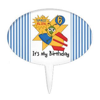 Space Alien 6th Birthday Cake Topper