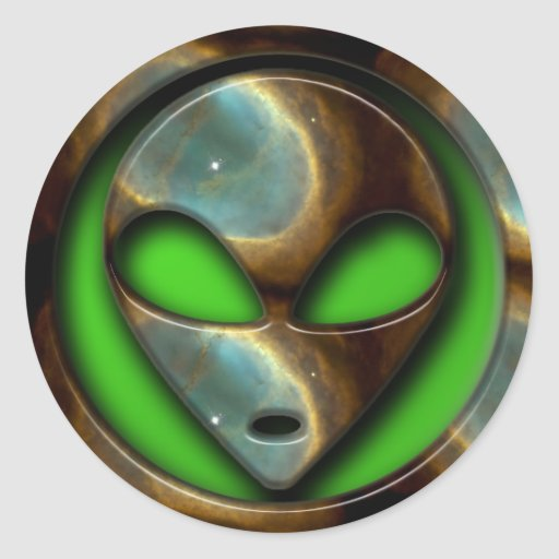 SPACE ALIEN CLASSIC ROUND STICKER