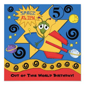 """Space Alien Customized  Birthday Invitations 5.25"""" Square Invitation Card"""