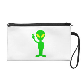 Space Alien Flashing the Peace Sign Wristlet Clutches