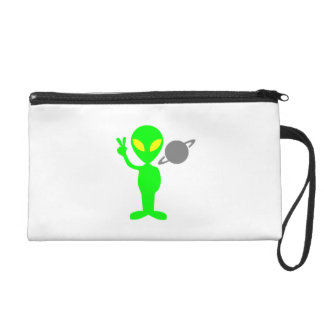 Space Alien Flashing the Peace Sign Wristlet Purses