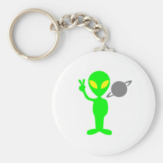 Space Alien Flashing the Peace Sign Keychain