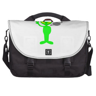 Space Alien Flashing the Peace Sign Laptop Commuter Bag