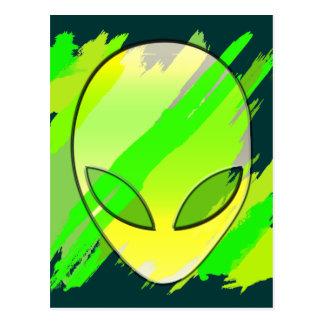 Space Alien Head Abstract Postcard
