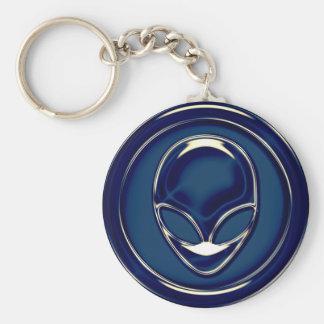 Space Alien Head Basic Round Button Keychain
