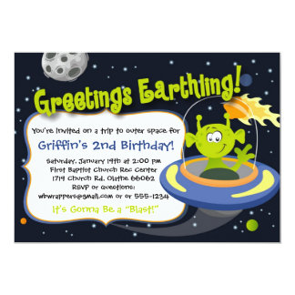 Space Alien Party Invitation - Outer Space Planets