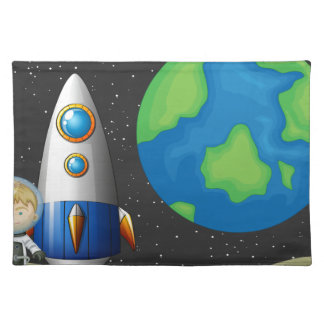 Space and astronaunt cloth placemat