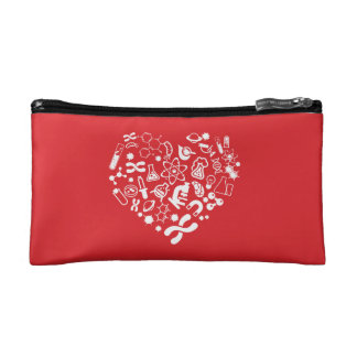 Space And Science Heart Cosmetic Bag