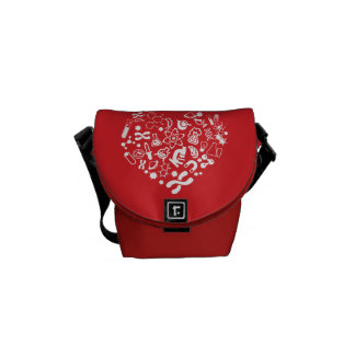 Space And Science Heart Messenger Bag