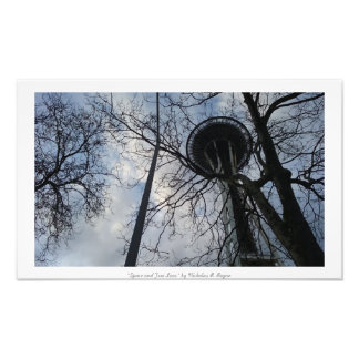 """""""Space and Tree Lace"""" Seattle Space Needle Photo Print"""