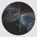 Space Art Butterfly Nebula Astronomical Painting Round Sticker