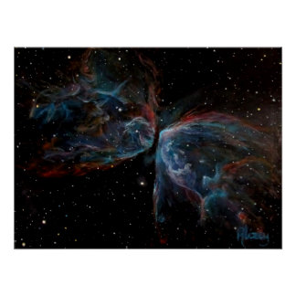 Space Art Poster: Butterfly Nebula Painting