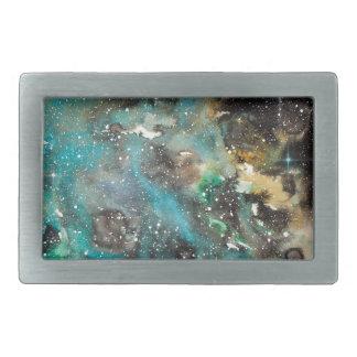 Space Art Watercolor Galaxy Belt Buckle