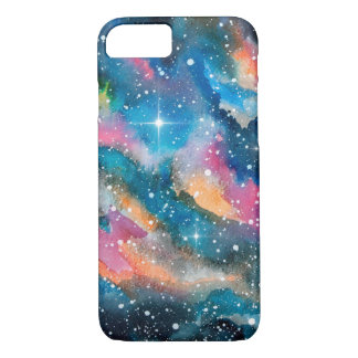 Space Art Watercolor Galaxy iPhone 7 Case